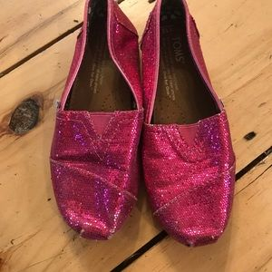 Other - TOMS Slip-on Pink Glitter Shoes Size 13 Y13